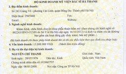 Giấy chứng nhận đăng ký kinh doanh Thẩm mỹ bác sĩ Hà Thanh