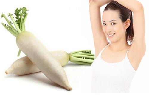 Cách chữa trị ra mồ hôi nách với củ cải trắng