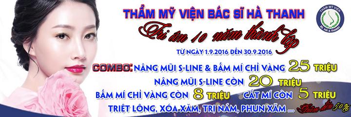 Khuyến mãi tri ân 10 năm thành lập Thẩm mỹ viện bác sĩ Hà Thanh