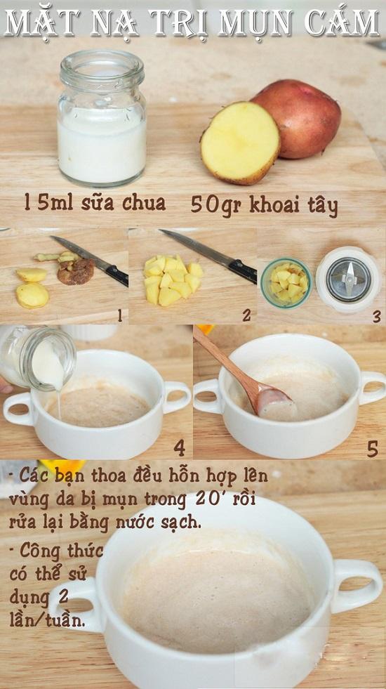 Trị mụn cám với khoai tây và sữa chua