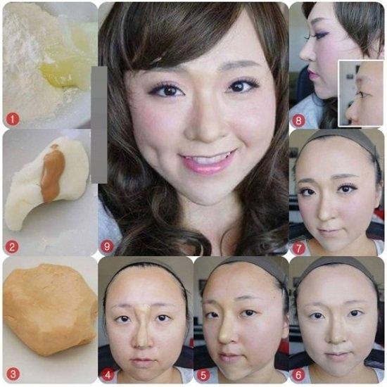 Mũi cao không cần phẫu thuật với bột mì