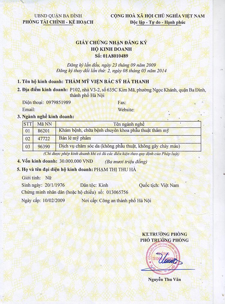 Giấy đăng ký kinh doanh Thẩm mỹ bác sĩ Hà Thanh