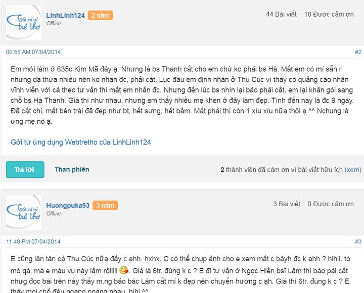 Thẩm mỹ bác sĩ Hà Thanh được chị em trên webtretho khuyên nên lựa chọn để cắt mí mắt